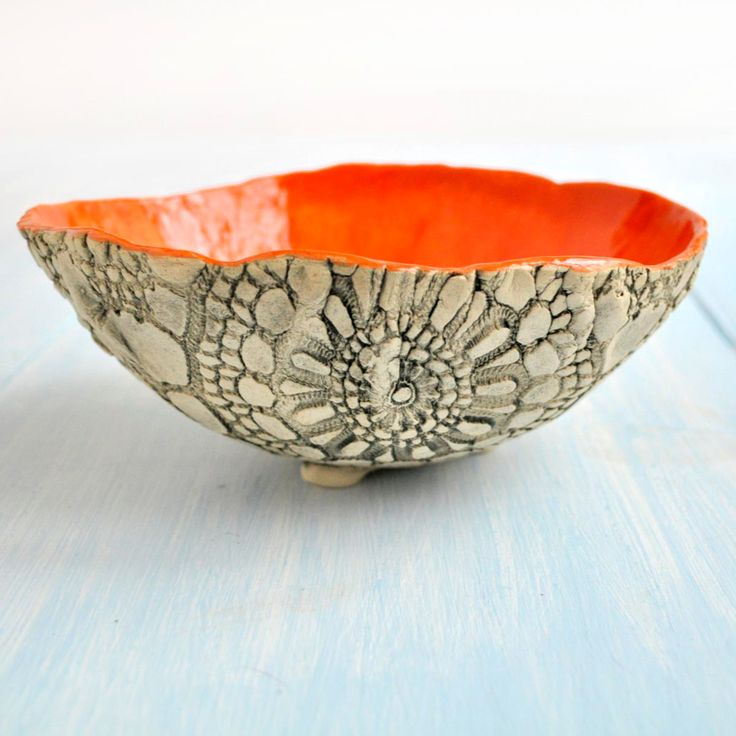 sculptural ceramic art vessel serving bowl in Apricot and Blue organic shape…
