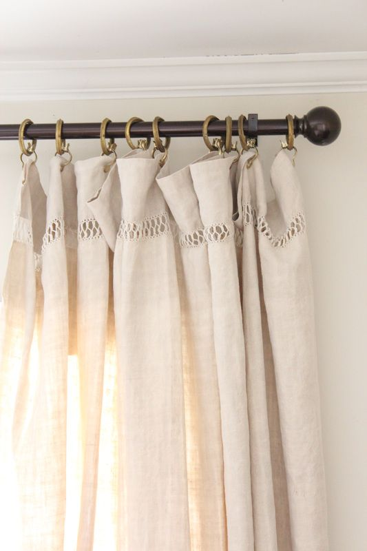 love the way French linen sheets hang as curtains!
