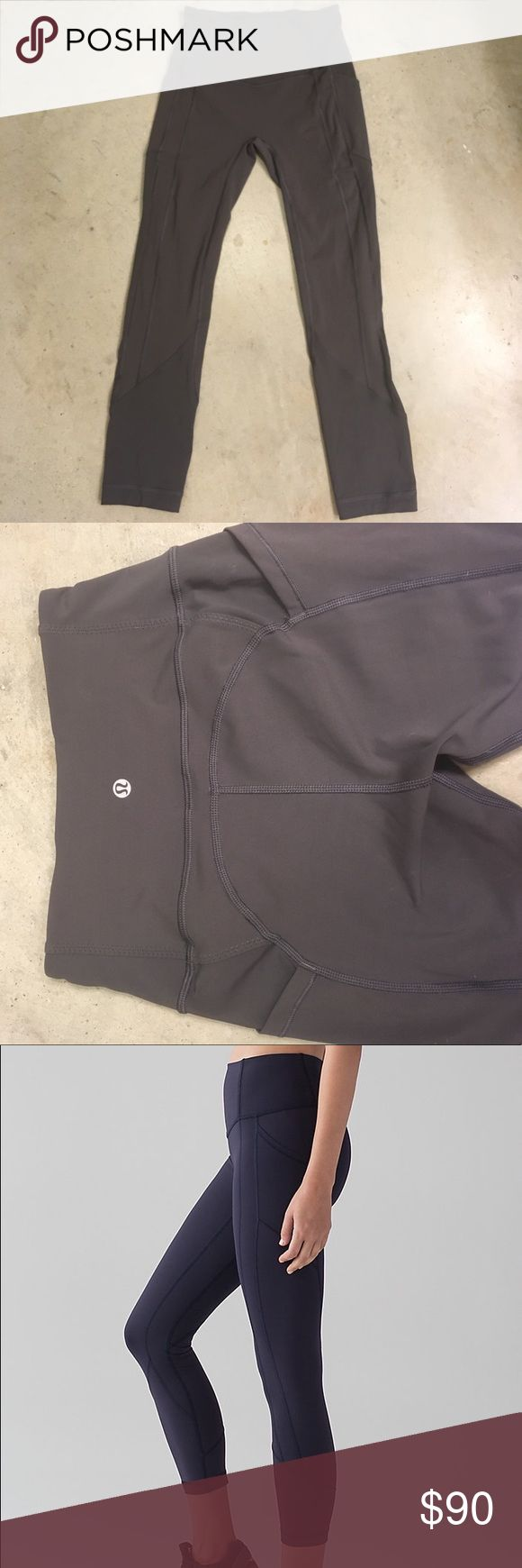 Lululemon All the Right Places Crop High waisted, zoned compression crop (7/8 length on me). In dark chrome color. No rips, stains or quality issues. Worn twice. lululemon athletica Pants Capris