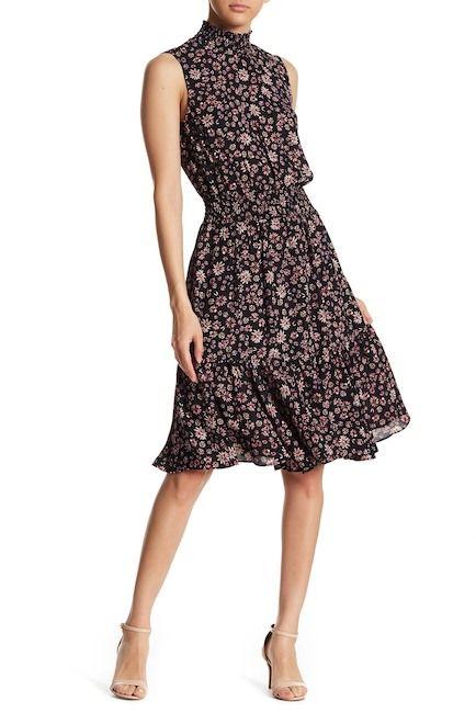 ed85da0bdd655 Image of NANETTE nanette lepore Floral Woven Smocked Neck Sleeveless Dress