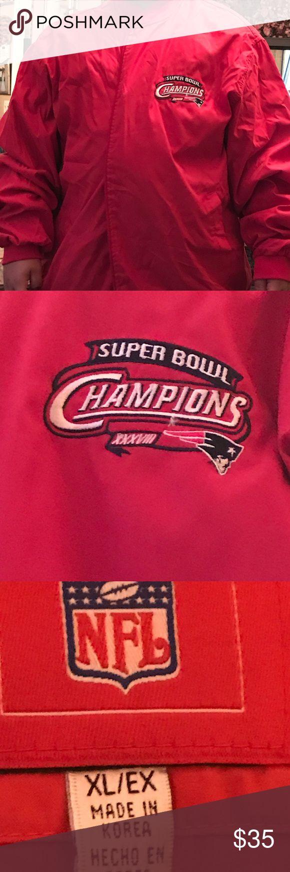 NFL New England Patriots SB XXXVIII Jacket st XL NFL New England PATRIOTS Super Bowl XXXVIII red jacket Size XL. Collectors item for sure NFL Reebok Jackets & Coats Lightweight & Shirt Jackets
