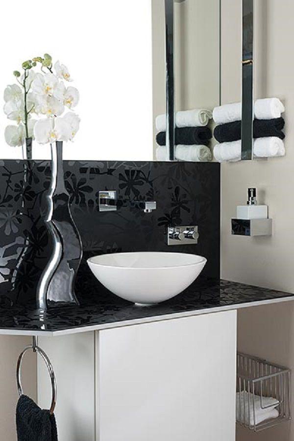 ▷ Gäste WC in schwarz weiß Elegante Waschschüssel
