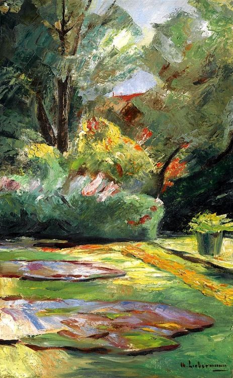 Max Liebermann (German Impressionist, 1847-1935) ~ Wannsee Garden, Flower Terrace to the Northeast