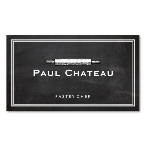 Cool Pastry Chef Rolling Pin Baker Logo - great for bread bakers, pastry chefs, bakeries and more.   chef business cards  