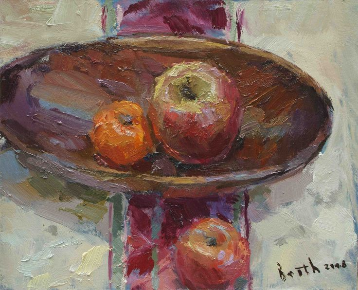 Still Life with Wooden Bowl, oil on canvas by Bob Booth www.trinitypaintbox.com #painting #art