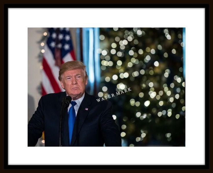 Donald Trump 8x10 Photo Picture Print Christmas Tree US Flag Background  | eBay