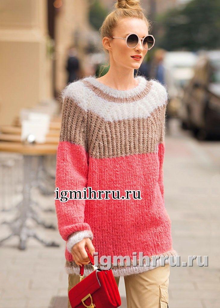 Мохеровый пуловер-реглан с кокеткой из патентной резинки. Вязание спицами