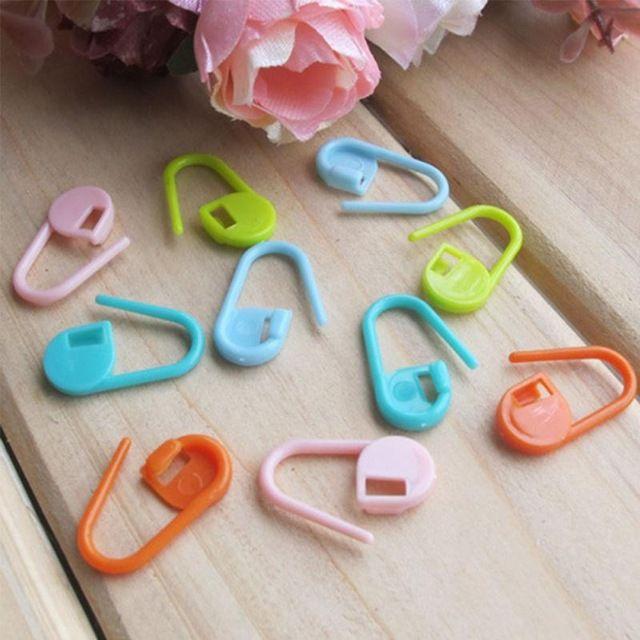 10 unids/set Marcadores De Plástico Titular de la Aguja Clip Craft Mix Mini Crochet Locking Stitch Titulares de Tejer
