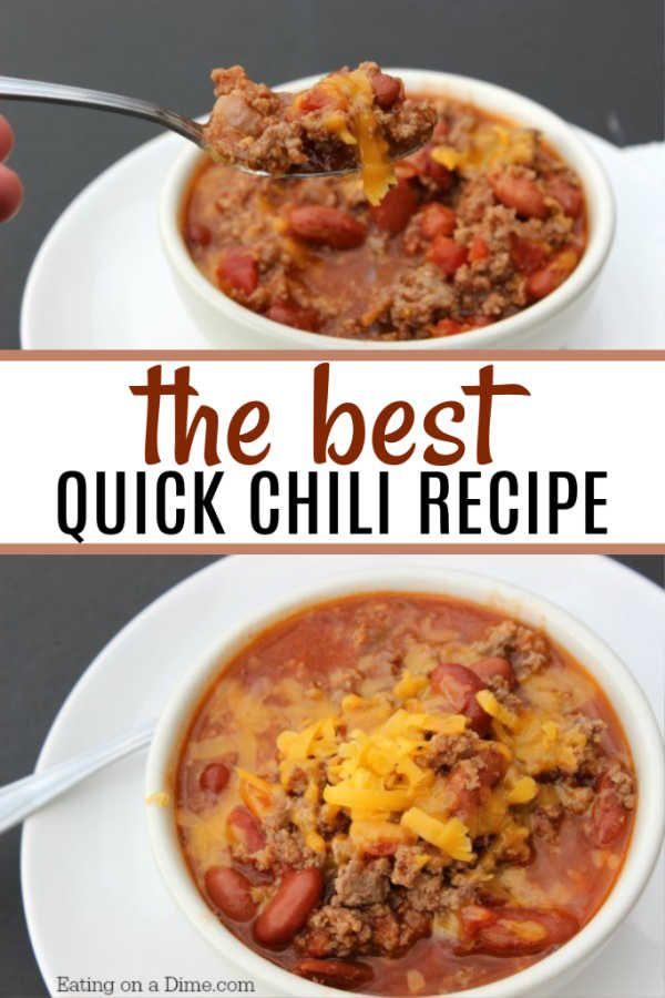 Easy Quick Chili Recipe Chili Recipe Easy Quick Chili Recipe Chili Recipe Stovetop