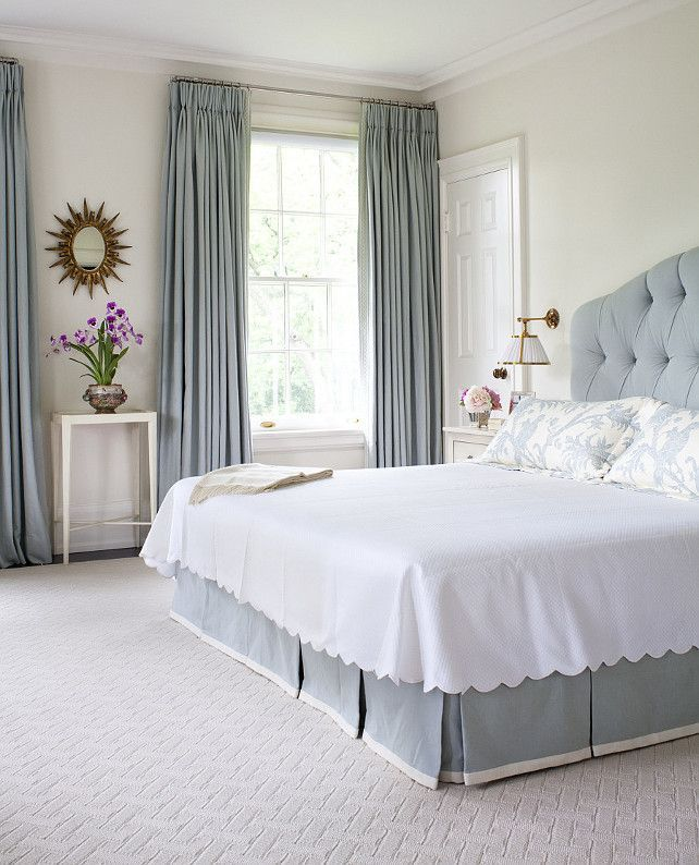 traditional blue and white bedroom with a tufted headboard designed by anne hepfer via - Relaxing Bedroom Ideas For Decorating