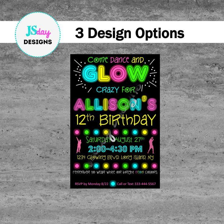 Glow in the Dark Party Glow Party Birthday Invite Party Supplies Dance Party Tween Party Kids Party Teen Party  https://www.etsy.com/listing/457574554/glow-party-invite-glow-in-the-dark