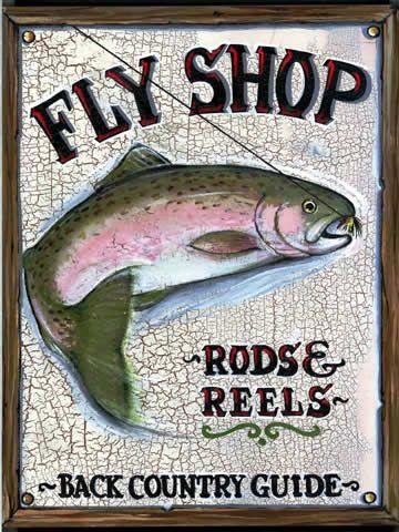 Vintage Fly Fishing Art   CUSTOMIZABLE Vintage Fly Shop Wood Sign Art