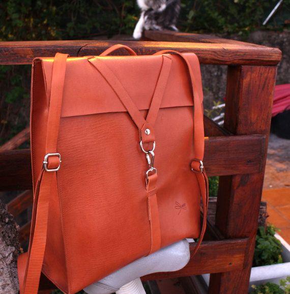 leather backpack for men leather school bag Computer por Ludena