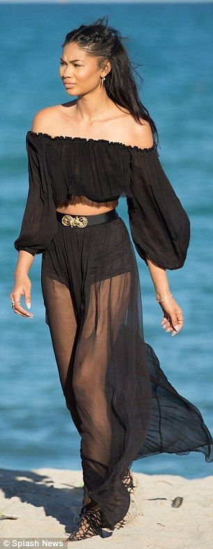 Chanel Iman flaunts long legs in floaty see-through two-piece on beach | Daily Mail Online