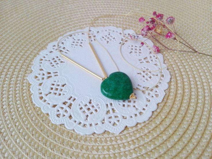 Envío gratis, colgante verde, colgante corazón, colgante ágata, regalo madre, regalos novia, regalo mujer, delicado collar