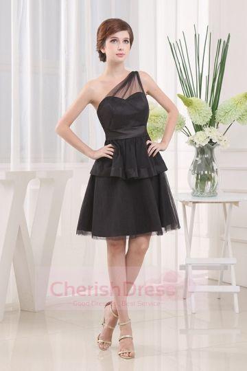 Tulle One Shoulder  Little Black Dresses
