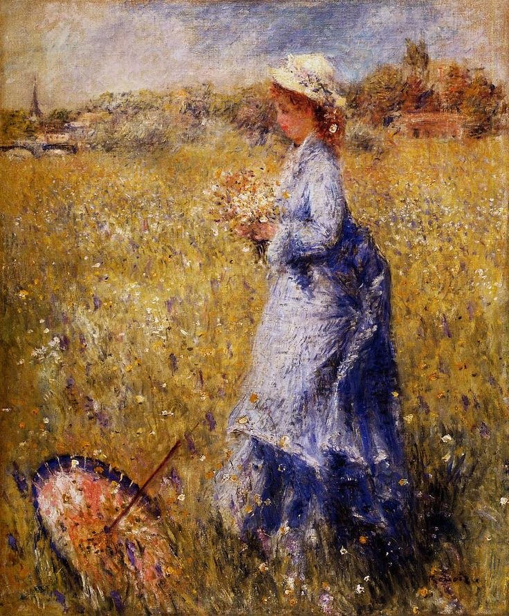 """Girl gathering flowers"" by Pierre-August Renoir."