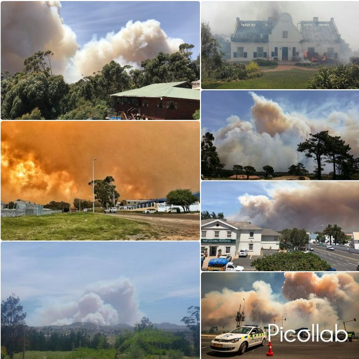 At least four houses have been burnt down on the mountainside of Gordons Bay. An extensive vegetati