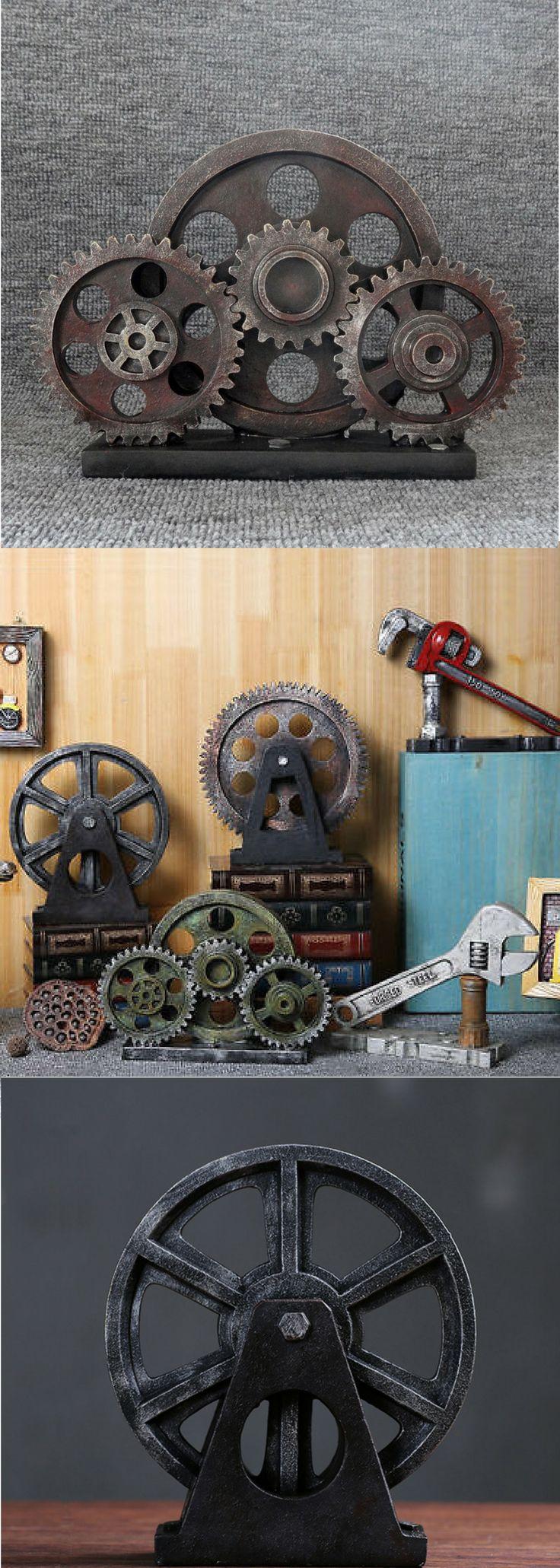 Industrial Steampunk Gear, Driving Wheel, Train, Spanner, Pipe Wrench Model/Figurine Decor