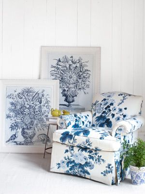 """Lillian August framed prints, $575 each; 33½""""W x 40½""""H; soicher-marin.com. Lillian August for Hickory White cotton-upholstered chair, $4,528; Lillian August Furnishings & Design, 203-847-3314. Dolomite planter, $44.95 for two; trulywindchimes.com.)    Blue and White Decor - Blue Botanical Home Accessories - Country Living"""