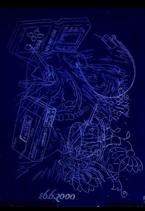 Tattoography : Jan Dyntera - Kompozice No. 7269 16.6.2000, 2011  barevná fotografie, hliníkový rám 44 x 64 cm