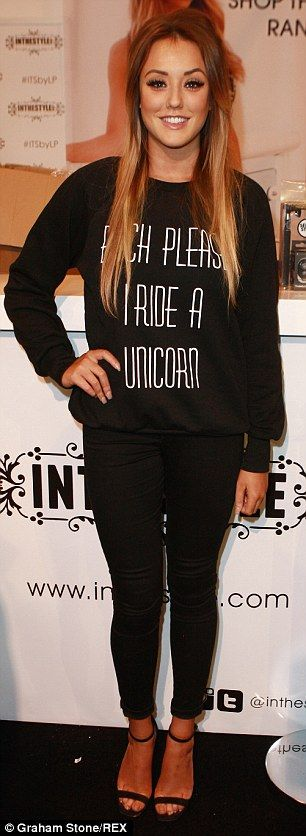 Mixing it up: Charlotte Crosby donned the same slogan jumper in black and red as she brave...