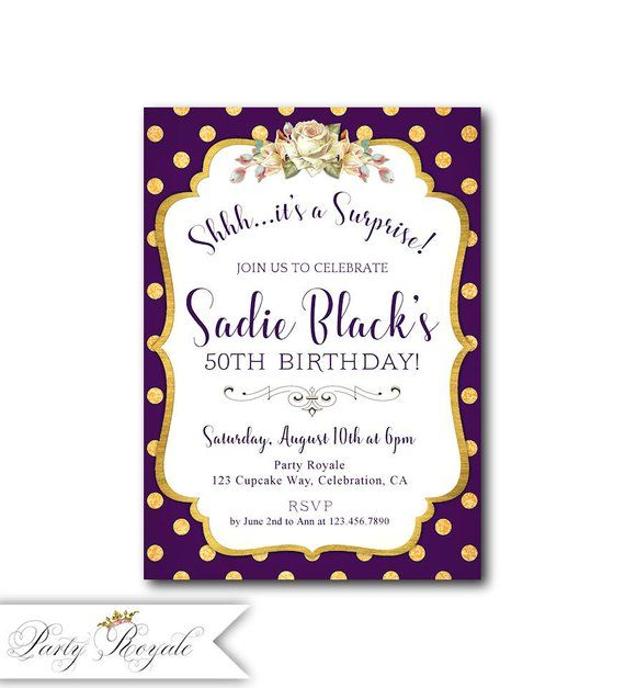 Womens Surprise Party Invitations Birthday For Her Purple And Gold Theme Invites