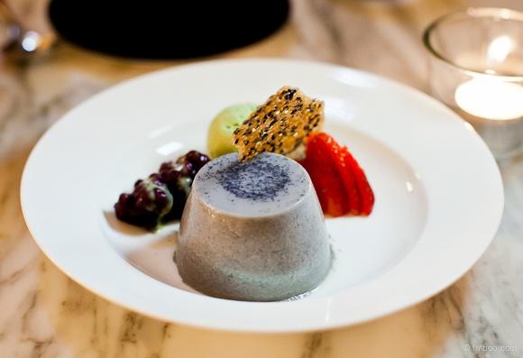 Black sesame pannacotta with green tea ice-cream, Akachochin #swpromenade #melbourne #japanese #izakaya