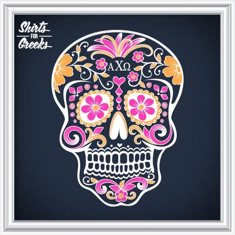 Shirts For Greeks - Alpha Chi Omega Sugar Skull