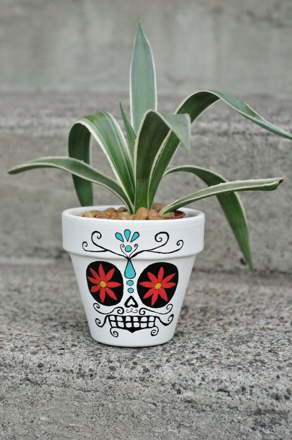 Day of The Dead Sugar Skull: HERNANDO Hand Painted Flower Pot Ceramic For Your Artistic Home!