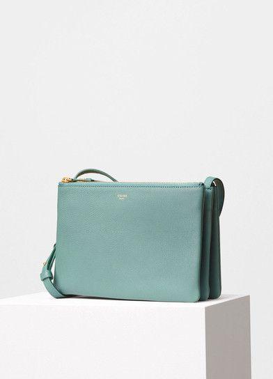 Trio Shoulder Bag in Green Smoke Grained Lambskin - Céline