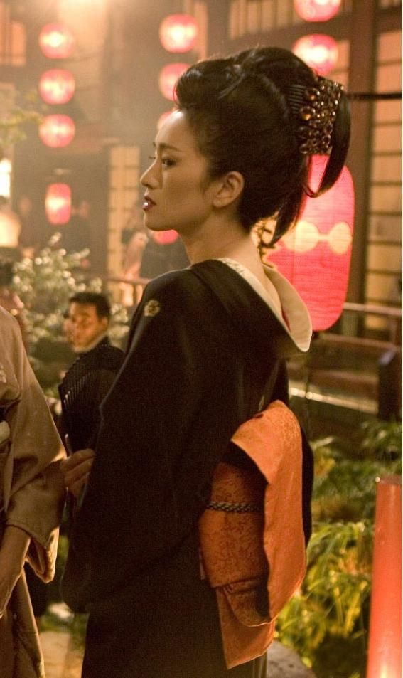 Gong Li as Hatsumomo in the movie Memoirs of a Geisha.. what a stunningly beautiful woman