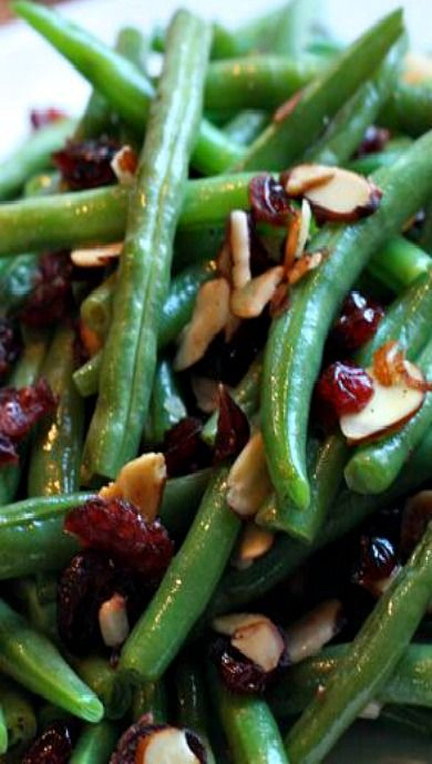 Green Beans with Cranberries and Almonds - yumminess!                                                                                                                                                                                 More