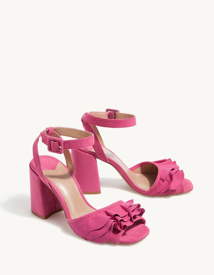 High heel sandals with frill trim - Heeled sandals | Stradivarius Romania
