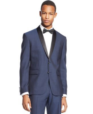 Bar III Slim-Fit Midnight Blue Shawl Collar Tuxedo Jacket $425.00 Showcase prime-time style in this shawl collar tuxedo jacket from Bar III.