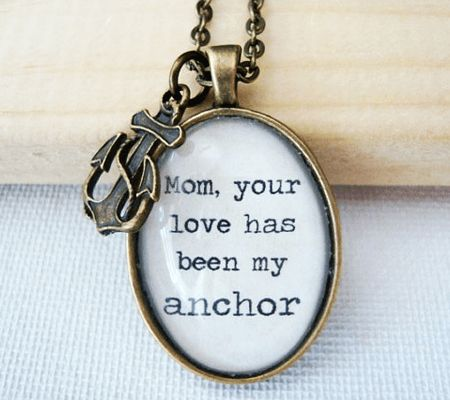 One-of-a-Kind Mother's Day Jewelry Gift Guide: Vintage Anchor Quote Pendant   Disney Baby