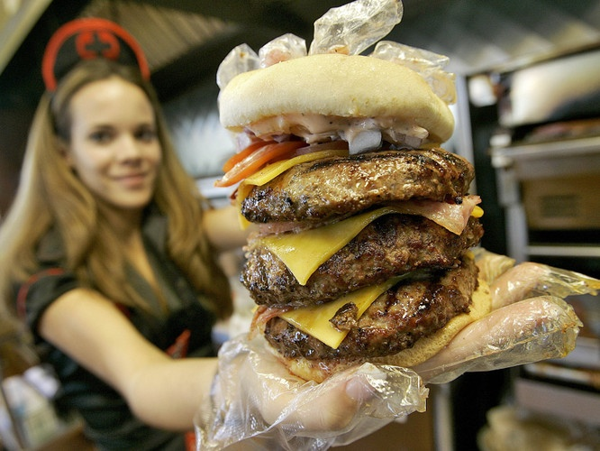 Heart Attack Grill 'Triple Bypass' burger.