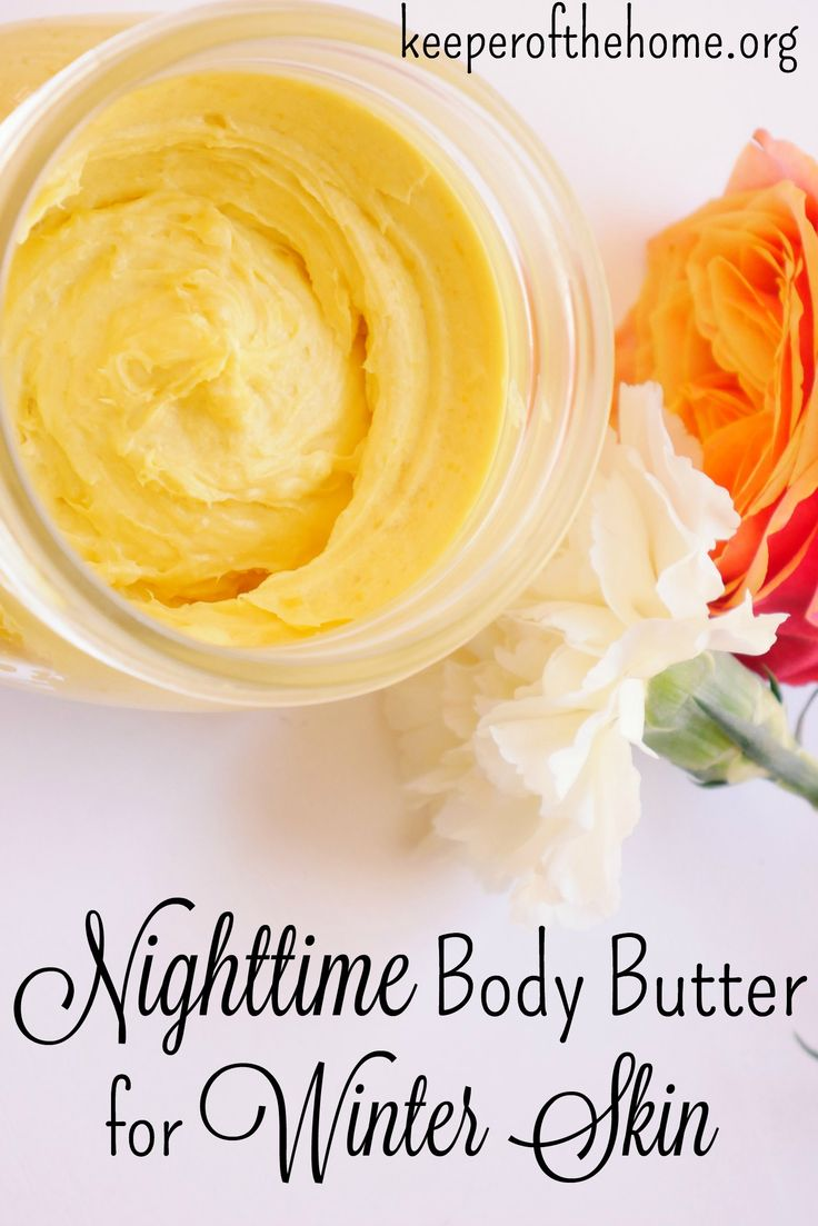 Suffer from dry winter skin? This nighttime body butter is easy to make yourself, and completely customizable with essential oils! It's a great natural solution from an annoying ailment.