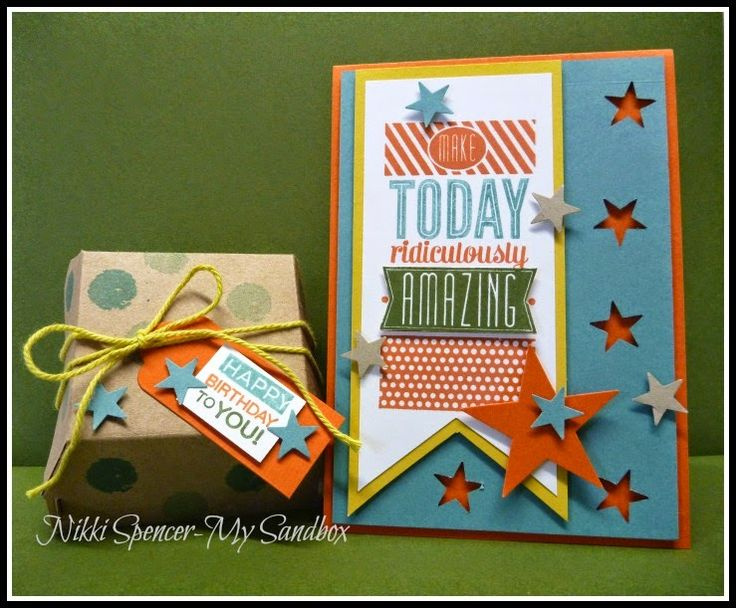 The hamburger box die makes such adorable gift wrap! The accompanying card just makes this birthday so much better.: Hamburg Boxes, Boys Birthday Card, Card Idea, Amazing Birthday Stampin Up, Birthday Cards, Adorable Gifts, 2014 2015, Gifts Wraps, Accompani Card