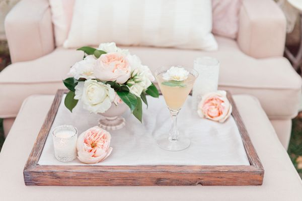 peach - lounge seating for wedding guests