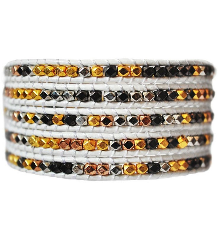 Tri Colored Metals 5 Wrap Leather Bracelet Bronze, Silver & Gold with a bright white modern leather make this handmade bracelet a steal for $34. #Metal #bronze #Gold #Silver #Bracelet #EmmaJaxon #OnSale