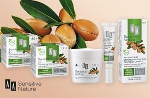 Az AA SENSITIVE NATURE 50+ Argán olajat tartalmazó arcápoló termékcsalád az érzékeny, allergiára hajlamos érett bőr minden igényét kielégíti.