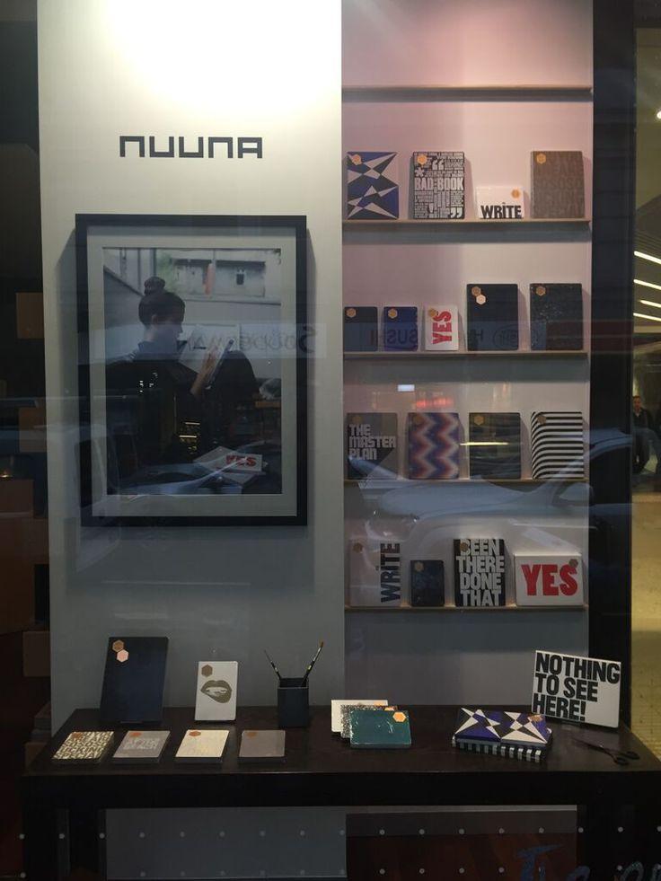 A nuuna window display looking fabulous at Bookbinders Design in Melbourne.