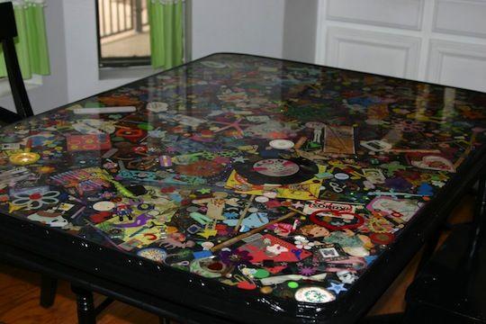 "DIY Resin ""I Spy"" table filled with children's toys, memorabilia, etc... ~Auddie's Oddities"