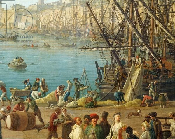 """""""Unloading ship"""", detail from """"Port of Marseille"""", 1754, by Claude-Joseph Vernet (1714-1789)"""