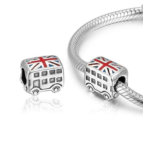 British Flag Bus Charm 925 Silver Pandora Compatible - Soufeel