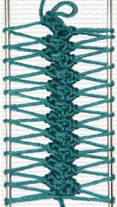 Another hairpin lace stitch. Tres puntos bajos tomando el lado de adelante del bucle
