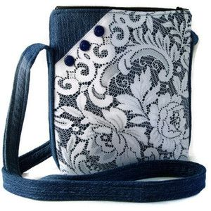Denim and Lace Crossbody Bag, Upcycled Denim Repurposed Lace Hipster Purse, Recycled Denim Jean Purse, Fabric Jean Bag Purse, Shoulder Bag