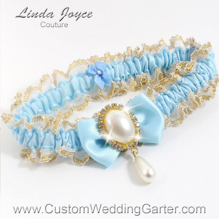 Light Blue And Gold WEDDING GARTER Pearl Bridal Garter Victoria 305 Alice Prom