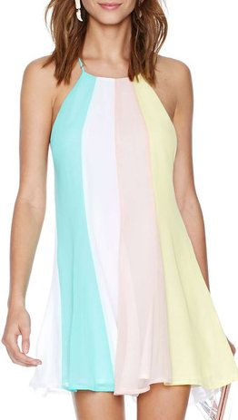 Multicolor Criss Cross Back Loose Dress